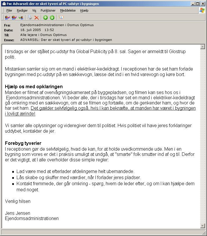 E-mail eksempel 2